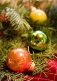 christmas ornaments with douglas fir poster