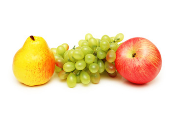 pear, apple and grapes isolated on white