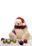 teddy bear in holiday outfit poster
