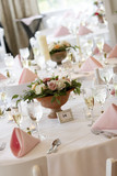 wedding tables set for fine dining poster