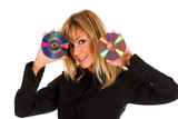 woman holding compact disc poster