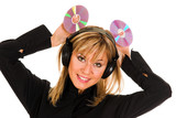 woman listening music in headphone poster
