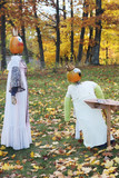 pumpkin people outside during fall poster