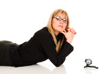 a businesswoman and webcam poster