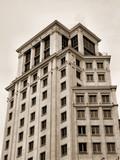 barcelona building in sepia poster
