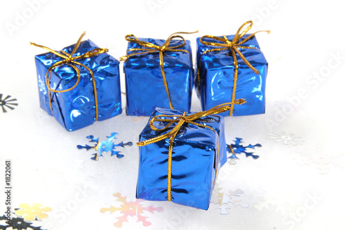 small blue christmas gifts