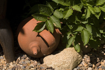 broken jar in garden