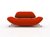 red sofa on white background  insulated 3d poster