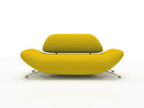 yellow sofa on white background  insulated 3d poster