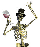 fun loving party skeleton - on white poster