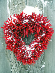 chili pepper christmas heart wreath