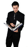 man with binder poster
