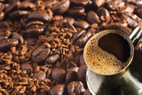 turkish coffee-pot and coffee-beans poster