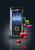 music / mp3 player on mobile phone poster