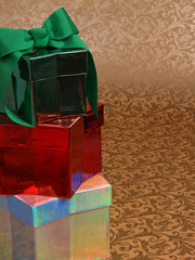 three stacked christmas gifts, bow & copy space