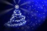 christmas tree. blue magic light poster