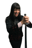china fighter girl with sword poster