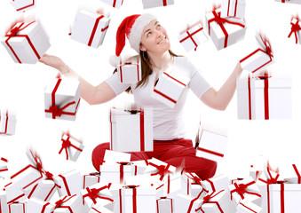 christmas gifts rainning on santa