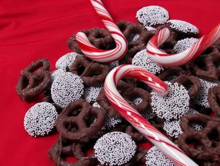 chocolate pretzels, candy canes & nonpareils