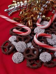 candy canes, nonpareils & chocolate pretzels