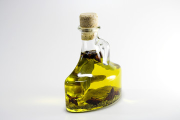 bayleaf and olive oil in a bottle