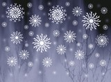 snowflakes on misty grey background poster