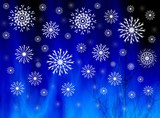 snowflakes on misty blue poster