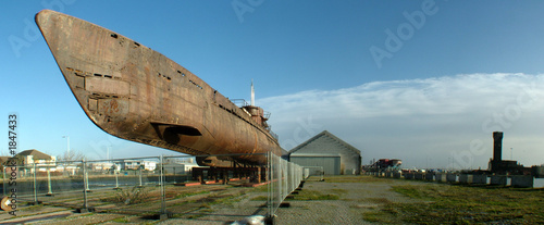 submarine salvaged and stored on dockside
