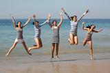 five girls jumping poster