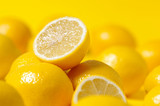 Fototapety group of lemon on yellow background