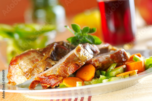 baked pork meat with vegetables