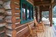 Leinwandbild Motiv log cabin deck