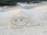 beach - good morning happy face poster