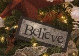 metal adn wood believe sign ornament poster