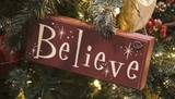 brown believe sign ornament poster