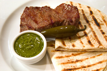 roasted meat with flatbread