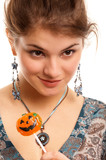 girl with sugar pumpkin poster