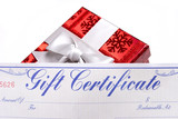 bright red gift with a gift certificate poster