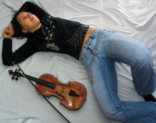 dreamy  musician woman