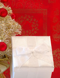 white holiday gift package poster
