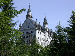 mad ludwig's castle in bavaria - side view