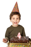 adorable kid celebrating his birthday poster