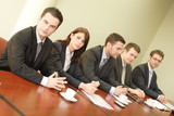 conference, group of five business people poster