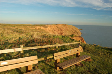 seats on top of filey brigg