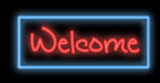 neon signboard - welcome poster