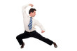 businessman in kung fu pose