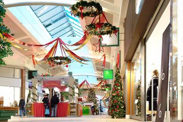 seasonally decorated shopping mall