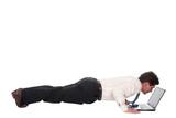 businessman using laptop, making press-ups poster