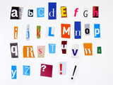 colorful alphabet made of magazine cuttings poster