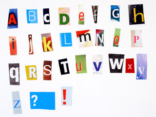 newspaper clipping colorful alphabet